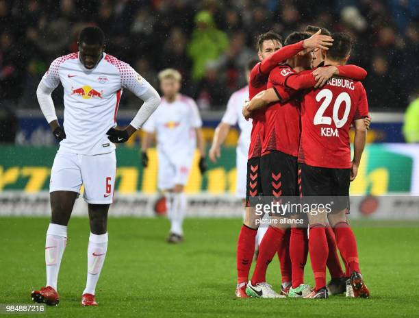 SC Freiburg and RB Leipzig face off in a Bundesliga match at Freiburg/Breisgau Germany 20 January 2018 Leipzig's Ibrahima Konaté looks disappointed...