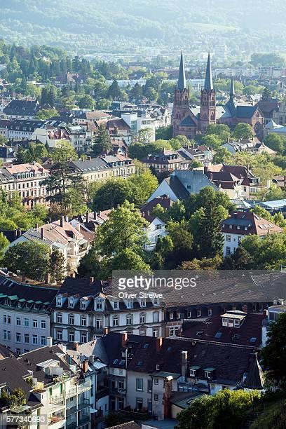 freiburg from schlossberg - freiburg im breisgau stock-fotos und bilder