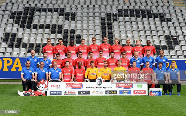 Freiburg Team Presentation at MAGE SOLAR Stadium on July 5 2013 in Freiburg Germany Third row Immanuel Hoehn Mensur Mujdza Fallou Diagne Sebastian...