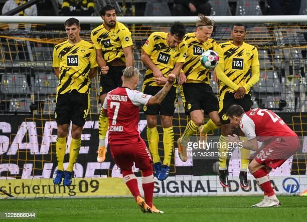 Freiburg's French midfielder Jonathan Schmid shoots during the German first division Bundesliga football match Borussia Dortmund vs SC Freiburg in...