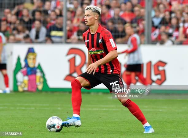 Freiburg's German defender Robin Koch controls the ball during the German first division Bundesliga football match SC Freiburg v Mainz 05 in...