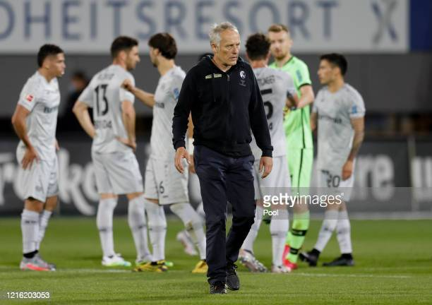 Freiburg's head coach Christian Streich reacts at full time following the Bundesliga match between SportClub Freiburg and Bayer 04 Leverkusen at...