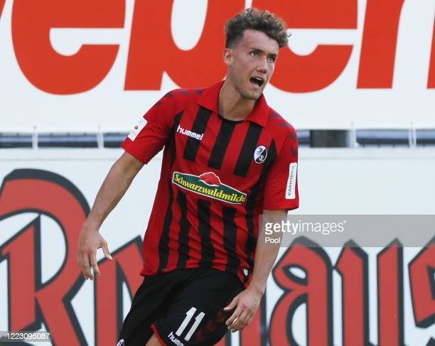 Freiburg's Luca Waldschmidt celebrates after scoring to give his side a 1-0 lead during the Bundesliga match between Sport-Club Freiburg and FC...