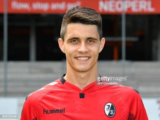 SC Freiburg's Polish midfielder Bartosz Kapustka poses during a team presentation of the German first division Bundesliga football team SC Freiburg...