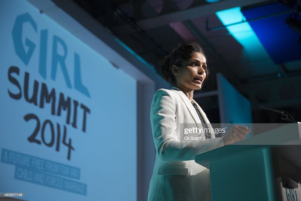 Freida Pinto, actress and Plan International Girls' Rights Ambassador, delivers a speech at the 'Girl Summit 2014' in Walworth Academy on July 22, 2014 in London, England. At the one-day summit the government has announced that parents will face prosecution if they fail to prevent their daughters suffering female genital mutilation (FGM).