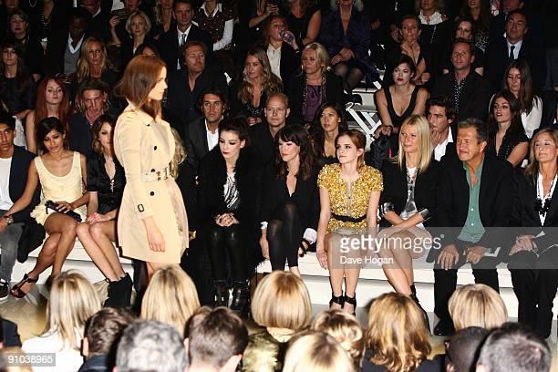Freida Pinto Alexa Chung Daisy Lowe Liv Tyler Emma Watson Gwyneth Paltrow and Mario Testino attend the Burberry Prorsum Spring/Summer 2010 Show at...