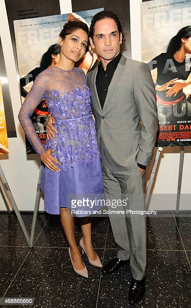 Freida Pinto and Reece Ritchie attend a special screening of Relativity Studio's 'Desert Dancer' at Museum of Modern Art on April 7 2015 in New York...