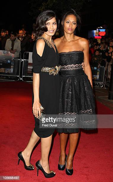 Freida Pinto and Rula Jebreal attends the premiere 'Miral' at the 54th BFI London Film Festival at Vue West End on October 18 2010 in London England