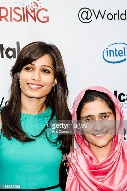Freida Pinto and Shabana Basij-Rasikh pose for a photo during the Girl Rising: A Rally for Girls and Women screening at The World Bank on April 18,...