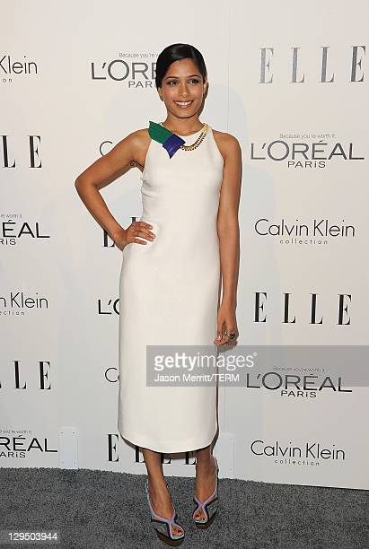 Freida Pinto arrives at ELLE's 18th Annual Women in Hollywood Tribute held at the Four Seasons Hotel on October 17, 2011 in Los Angeles, California.