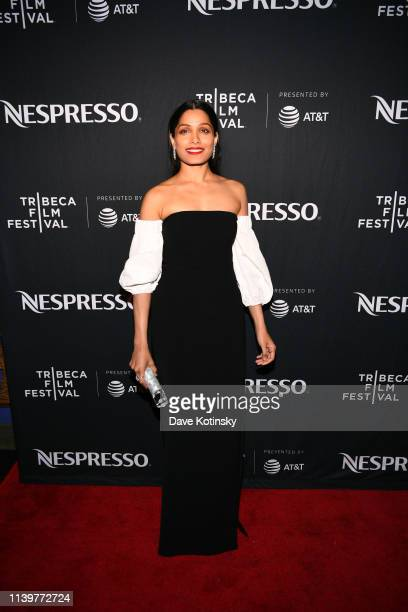 """Freida Pinto arrives at the Tribeca Film Festival After-Party For """"Only"""" Hosted By Nespresso at TAO Downtown on April 27, 2019 in New York City."""