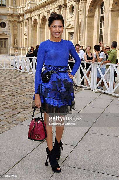 Freida Pinto arrives for the Louis Vuitton Pret a Porter show as part of the Paris Womenswear Fashion Week Spring/Summer 2010 at Cour Carree du...