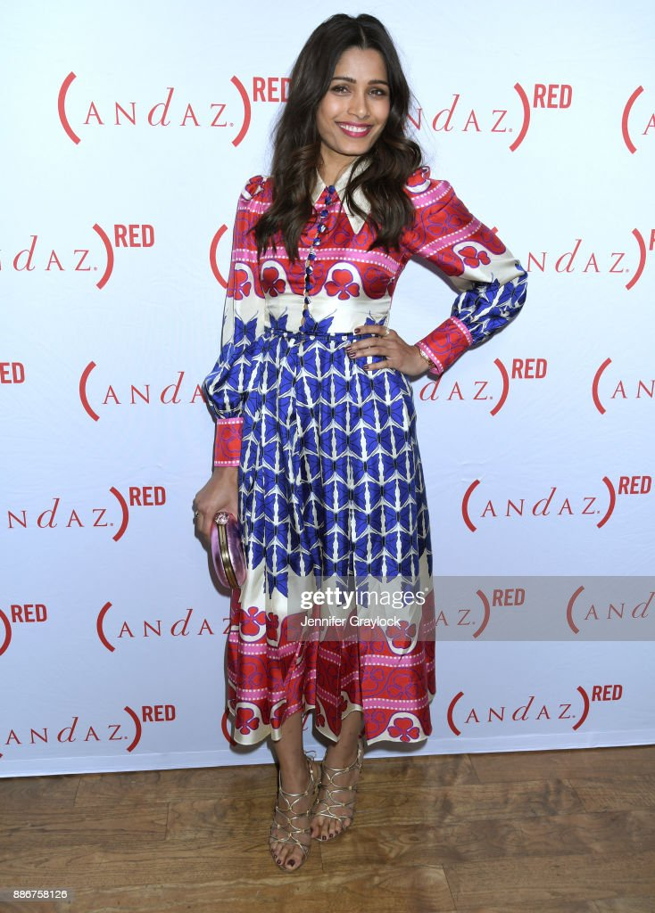 Freida Pinto at (ANDAZ)RED cabanas unveiling at Andaz West Hollywood on December 5, 2017 in West Hollywood, California. (Photo by Jennifer Graylock/Getty Images for (ANDAZ)RED)
