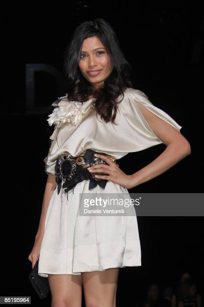 Freida Pinto attend the Dolce Gabbana show during Milan Fashion Week Womenswear Autumn/Winter 2009 on March 2 2009 in Milan Italy