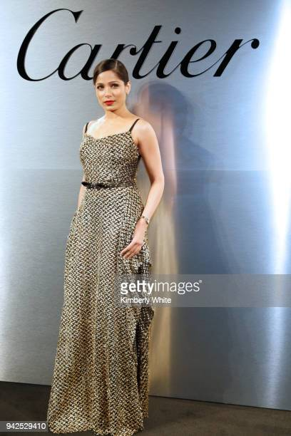 Freida Pinto attends Cartier celebration of the launch of Santos de Cartier Watch at Pier 48 on April 5 2018 in San Francisco California