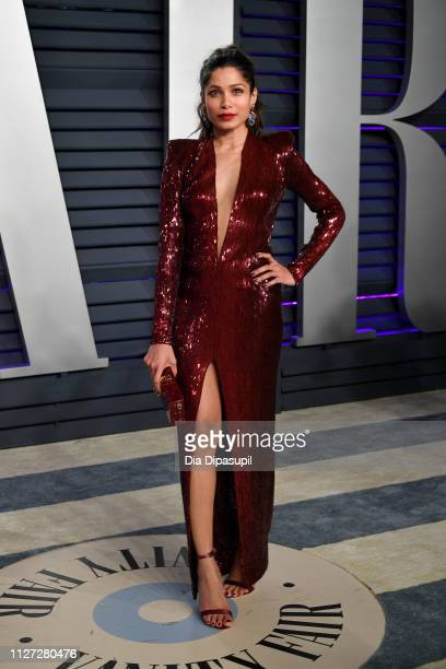 Freida Pinto attends the 2019 Vanity Fair Oscar Party hosted by Radhika Jones at Wallis Annenberg Center for the Performing Arts on February 24 2019...