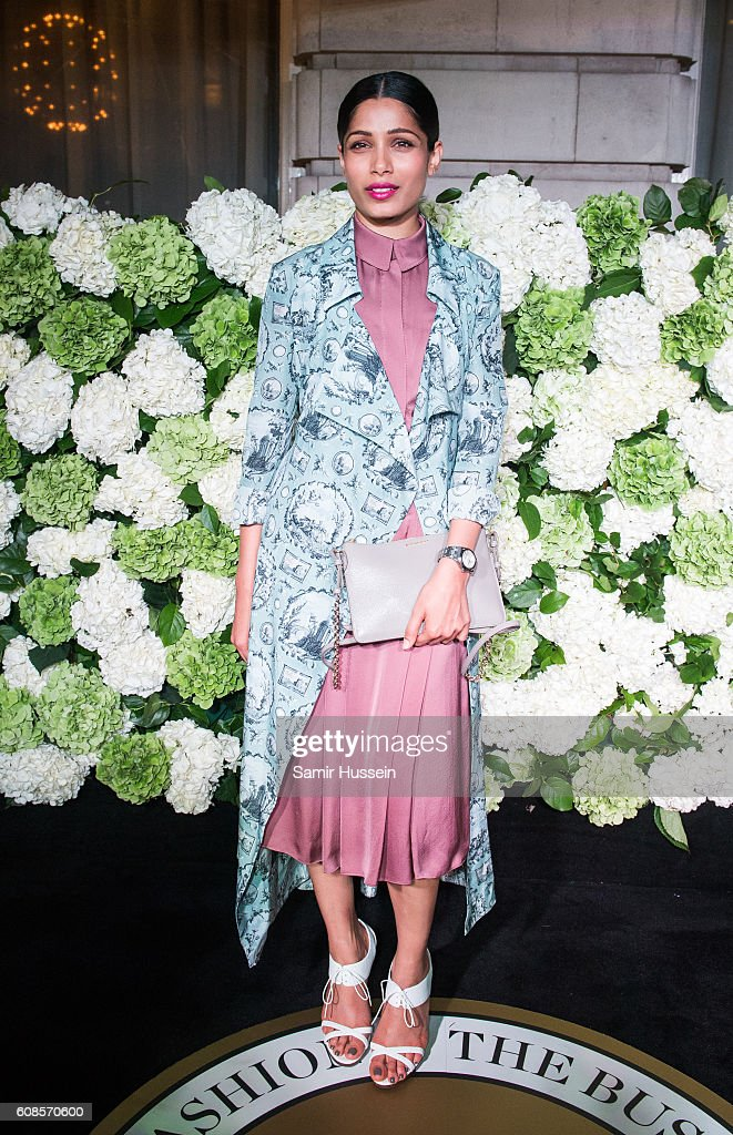 Freida Pinto attends the #BoF500 Gala Dinner during London Fashion Week Spring/Summer collections 2016/2017 on September 19, 2016 in London, United Kingdom.