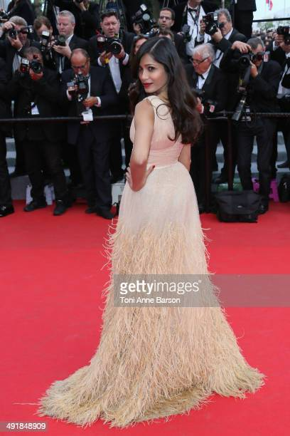 Freida Pinto attends the Saint Laurent premiere at the 67th Annual Cannes Film Festival on May 17 2014 in Cannes France
