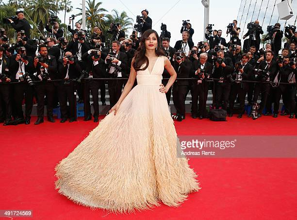 Freida Pinto attends the Saint Laurent premiere during the 67th Annual Cannes Film Festival on May 17 2014 in Cannes France