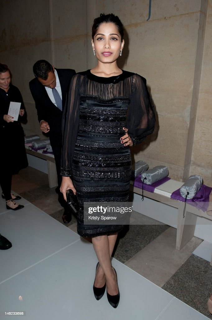 Freida Pinto attends the Salvatore Ferragamo Cruise Collection 2013 show presented at Galerie Denon at the Louvre Museum on June 12, 2012 in Paris, France.