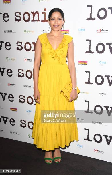 Freida Pinto attends the UK Premiere of LOVE SONIA at Curzon Bloomsbury on January 23 2019 in London England