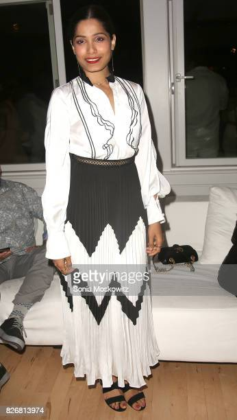 Freida Pinto attends the Women's HealthParty Under the Stars Benefit for The Feed Foundation at The Bridgehampton Tennis Surf Club on August 5 2017...