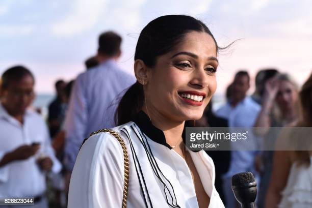 Freida Pinto attends Women's Health and FEED's 6th Annual Party Under the Stars at Bridgehampton Tennis and Surf Club on August 5 2017 in...