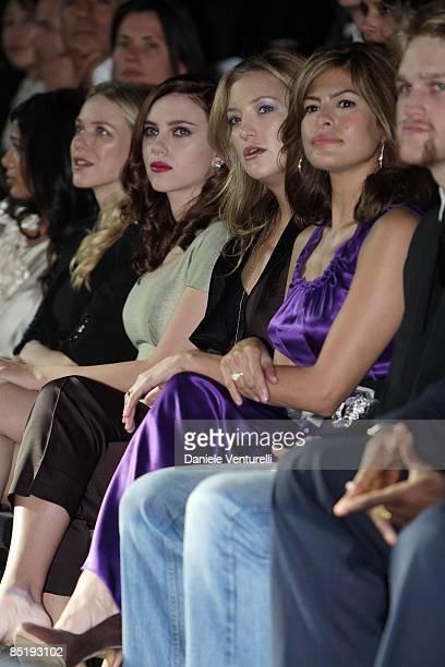 Freida Pinto Naomi Watts Scarlett Johansson Kate Hudson Eva Mendes and Wyatt Russell attend the Dolce Gabbana show during Milan Fashion Week...