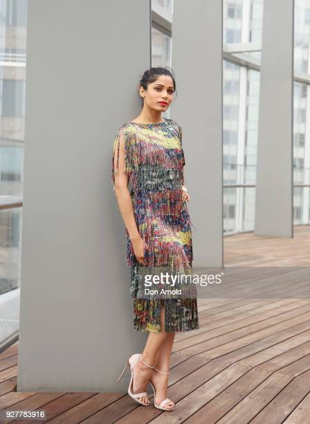 Freida Pinto poses during the Veuve Clicquot New Generation Award on March 6 2018 in Sydney Australia