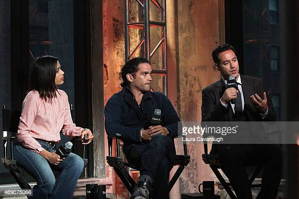Freida Pinto Reece Ritchie and Richard Raymond attend AOL BUILD Speaker Series with the cast of 'Desert Dancer' at AOL Studios on April 9 2015 in New...