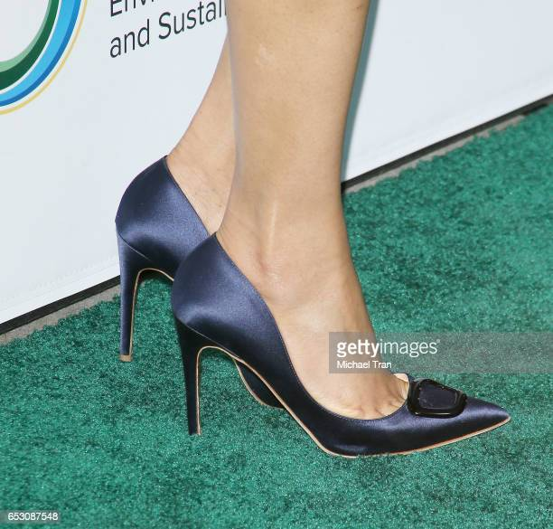 Freida Pinto shoe detail arrives at the UCLA Institute of The Environment and Sustainability celebrates innovators for a healthy planet held at a...