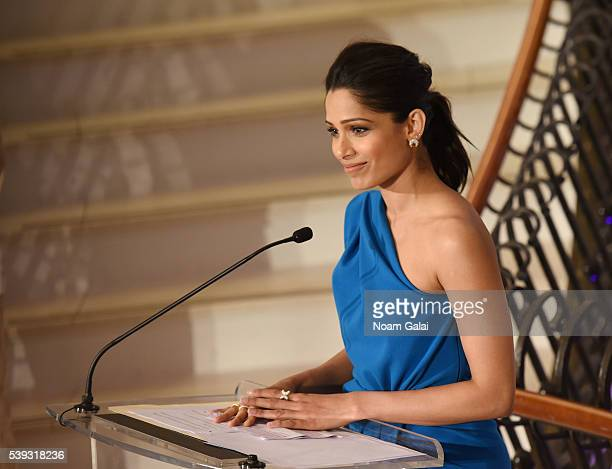 Freida Pinto speaks the Changemaker Honoree Gala at the 2016 Greenwich International Film Festival Day 2 at Richards on June 10 2016 in Greenwich...