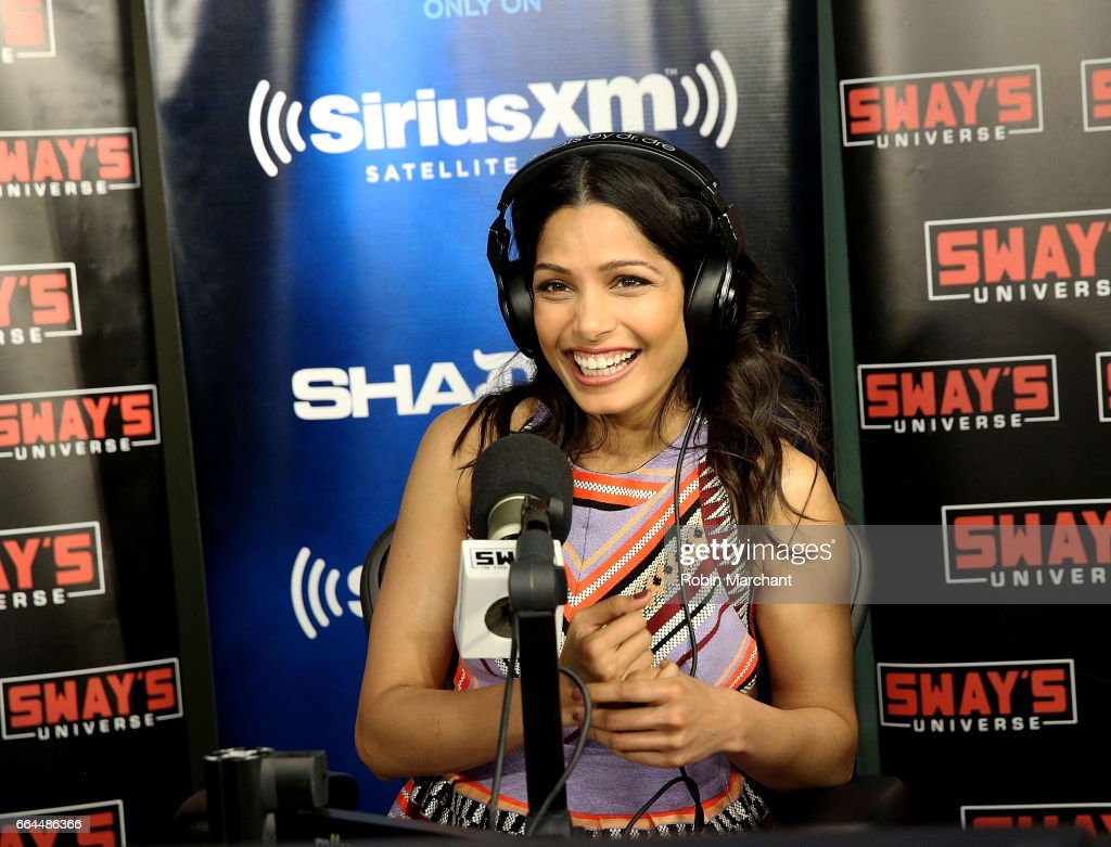 Freida Pinto visits 'Sway in the Morning' with Sway Calloway on Eminem's Shade 45 at SiriusXM Studios on April 4, 2017 in New York City.