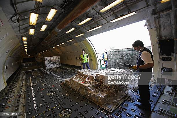 Freight area of a MD11 Freighter Aeroplane before start at the Ezeiza International Airport on August 30 2008 in Buenos Aires Argentina The Republic...