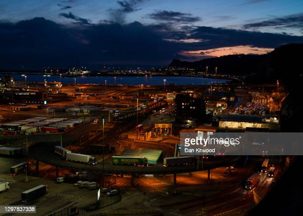 Freight at Dover port at twilight on January 22, 2021 in Dover, England. Since Brexit, new requirements for EU transport firms to provide tens of...