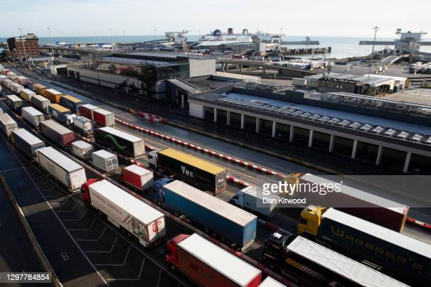 Freight at Dover port on January 22, 2021 in Dover, England. Since Brexit, new requirements for EU transport firms to provide tens of thousands of...