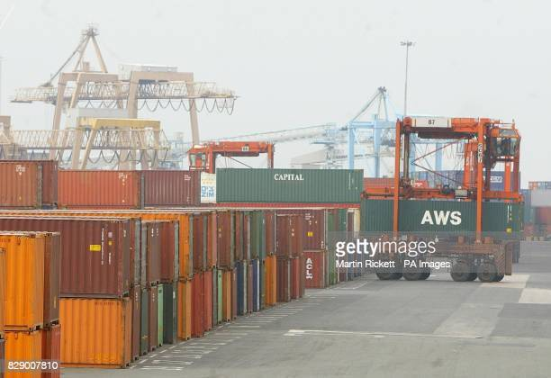 Freight containers at Seaforth docks in Liverpool where cannabis worth an estimated value of 35 million was seized during dock raids police confirmed...