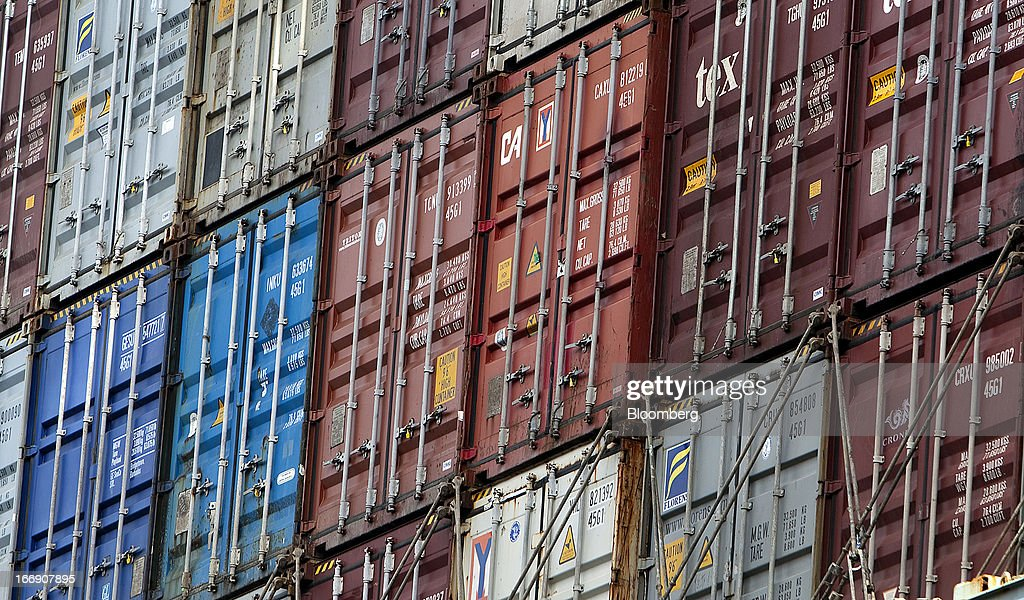 Freight containers sit stacked after being unloaded from a ship at the Port Metro Vancouver terminal in Vancouver, British Columbia, Canada, on Tuesday, April 16, 2013. Port Metro Vancouver, Canada's largest and busiest port, is the principal authority for shipping and port-related land and sea use in the Metro Vancouver region. Photographer: Ben Nelms/Bloomberg via Getty Images