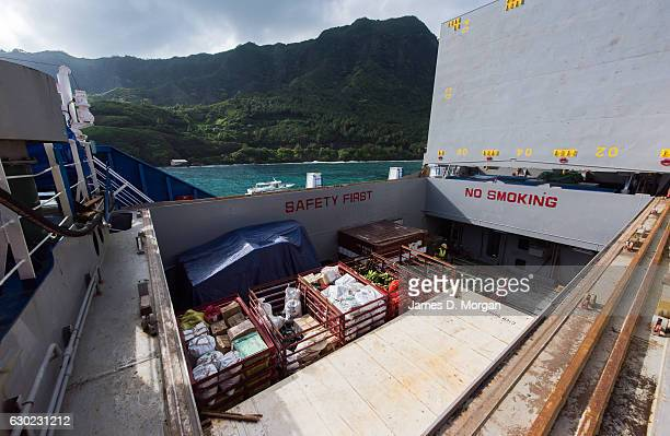 Freight inside the hold of the Aranui 5 freighter and cruise ship as she delivers Christmas goods on December 02 2016 in the Marquesa Islands French...