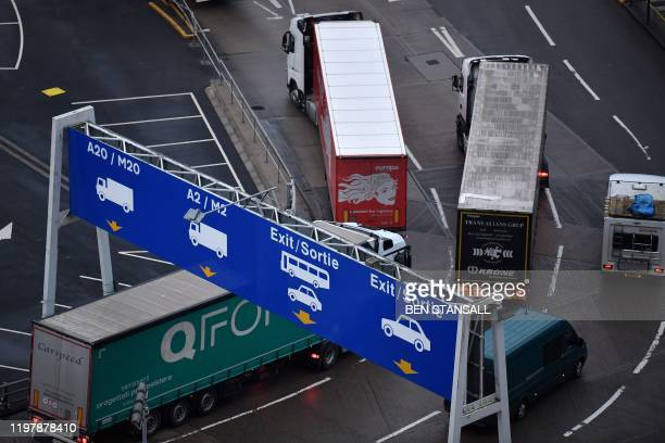 Freight lorries leave the port of Dover Kent on February 1 Britain on Saturday began an uncertain future outside the European Union hours after the...