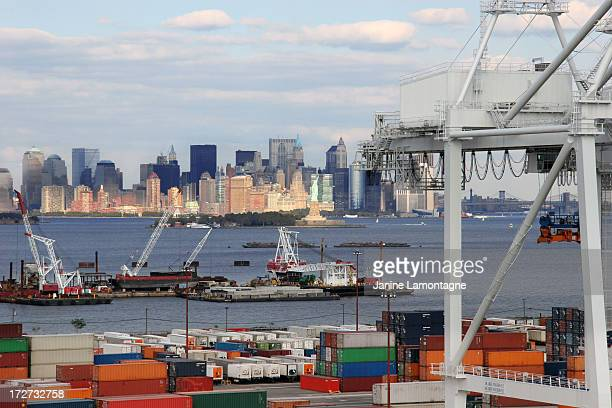 Freight overlooking New York, landscape view