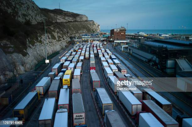Freight queues at Dover port on January 22, 2021 in Dover, England. Since Brexit, new requirements for EU transport firms to provide tens of...