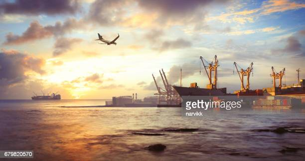 freight ship in the harbor - heavy industry stock photos and pictures