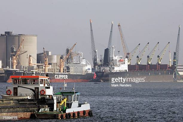 Freight ship is seen moored in Antwerp port on October 17, 2006 in Antwerp, Belgium. The port is the 4th largest in the world, and handled over 83...