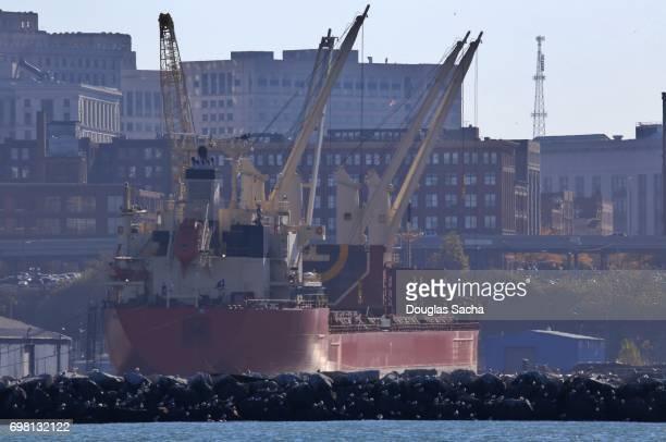 Freight ship unloads its cargo