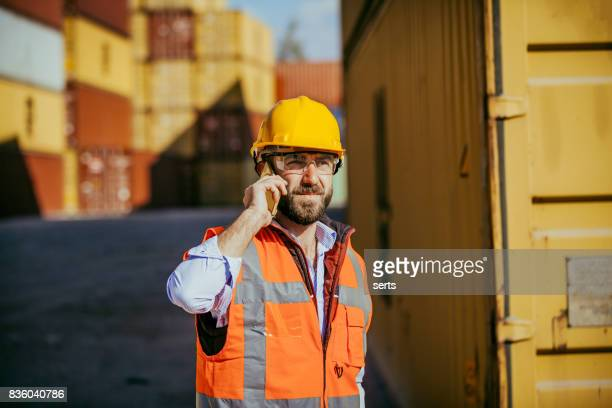 Freight Shipping Communication At Container Terminal