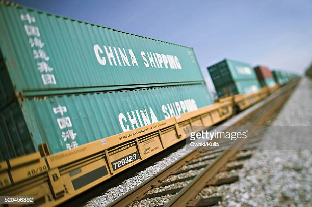 Freight Train Carrying Shipping Containers