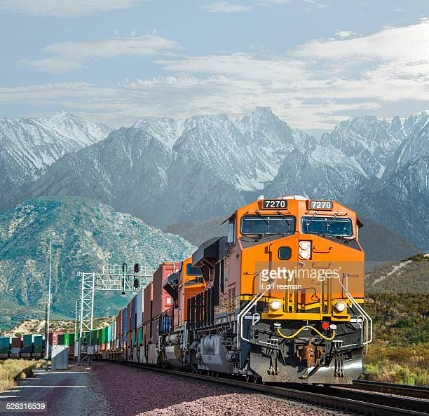 Freight Train in Mountains