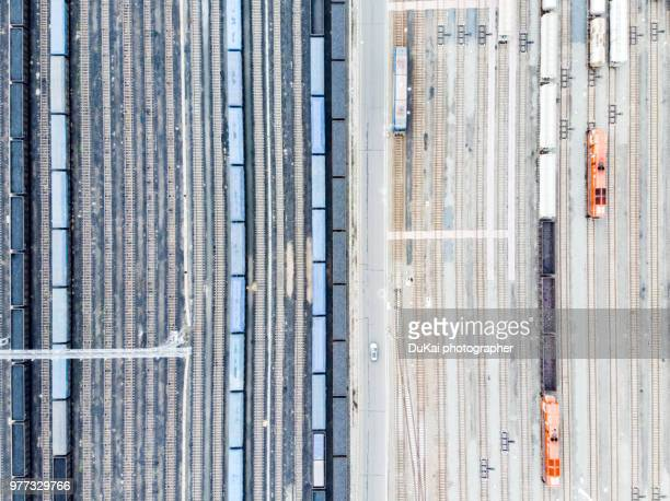 freight train marshalling station - shunting yard stock photos and pictures