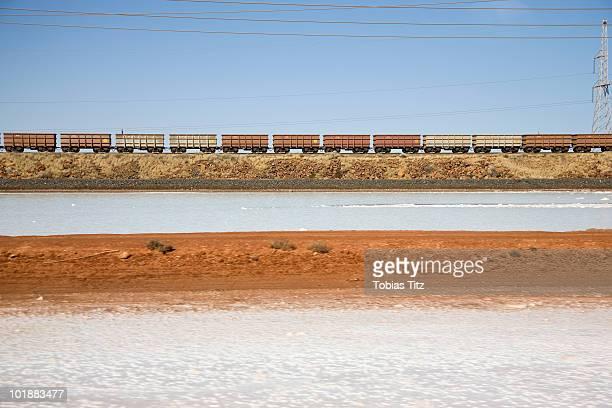 Freight train moving through a barren landscape,  Port Hedland, Western Australia, Australia